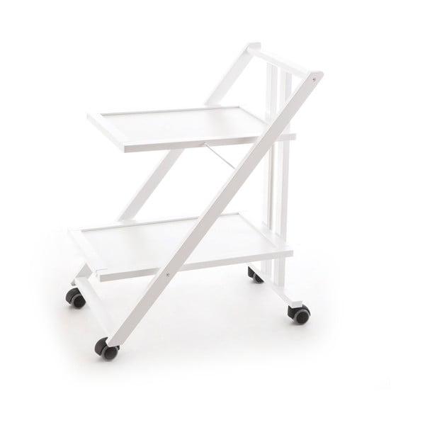 Biely pojazdný servírovací stolík z bukového dreva Arredamenti Italia Simp