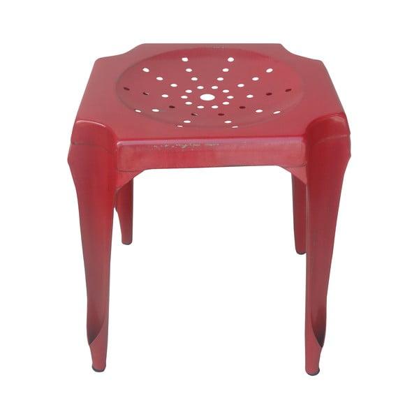 Kovový retro stolík Gion, červený