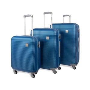 Sada troch modrých cestovných kufrov Jaslen