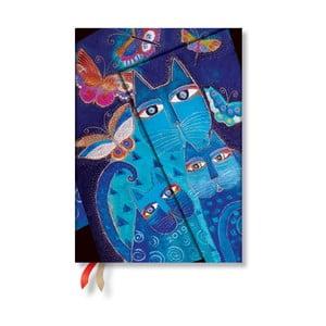 Diár na rok 2019 Paperblanks Blue Cats & Butterflies Vertical, 13 x 18 cm