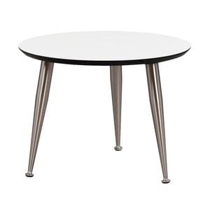 Biely konferenčný stolík s nohami v striebornej farbe Folke Strike, výška 40 cm × ∅ 56 cm
