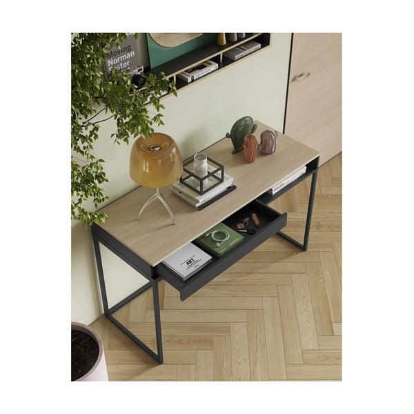 Pracovný stôl s doskou z duba a policou TemaHome City