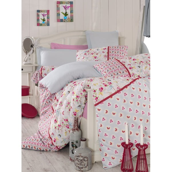 Ružové obliečky s plachtou Love Colors Emma, 160 x 220 cm