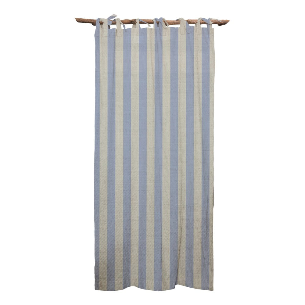 Modrý záves Linen Cuture Cortina Hogar Blue Stripes