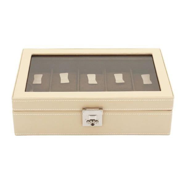 Béžový kožený box na 10 hodiniek Friedrich Lederwaren Cordoba