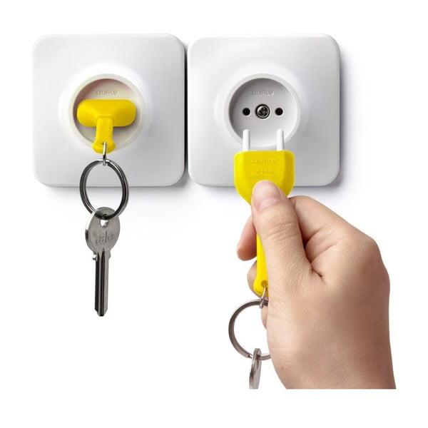 Zásuvka s kľúčenkou QUALY Unplug, žltá