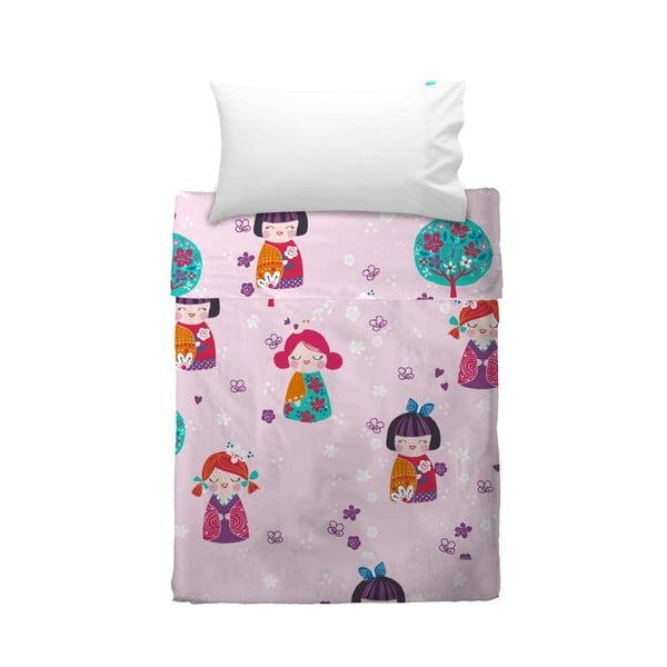 Prikrývka a obliečka na vankúš Moshi Moshi Cherry Blossom, 100x135cm