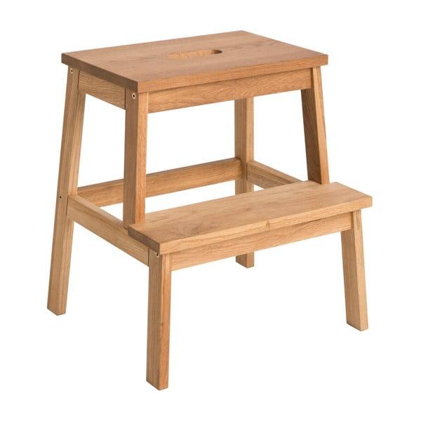 Prírodná dubová stolička/schodíky Rowico Nanna
