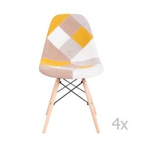 Sada 4 žltých stoličiek sømcasa Karen