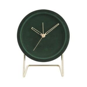 Tmavozelené stolové hodiny so zamatom Karlsson Lush