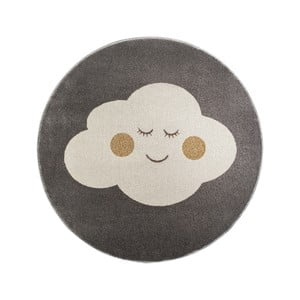Sivý okrúhly koberec s motívom mraku KICOTI Grey, 80 × 80 cm