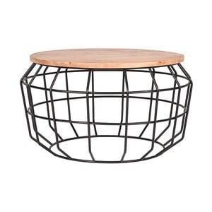 Čierny odkladací stolík s doskou z mangového dreva LABEL51 Pixel, ⌀ 70 cm