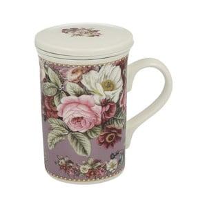 Porcelánový hrnček s filtrom s motívom kvetín Duo Gift Rosa, 300 ml
