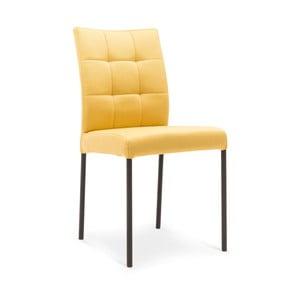 Žltá jedálenská stolička s čiernymi nohami Jakobsen home Porto