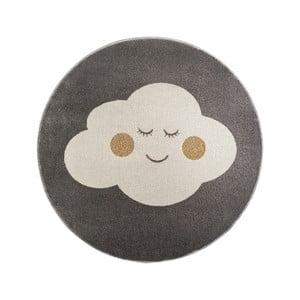 Sivý okrúhly koberec s motívom mraku KICOTI Cloud, 100 × 100 cm