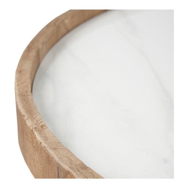 Drevený odkladací stolík s bielymi detailmi J-line Cer, 60cm