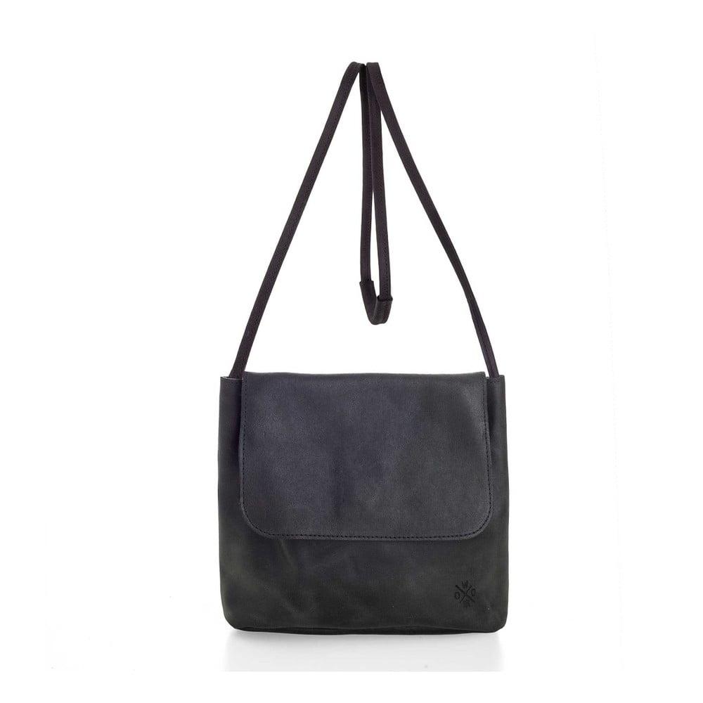 Čierna kožená kabelka cez rameno Woox Costa