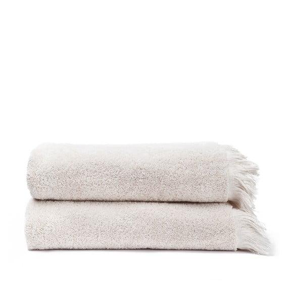 Sada 2 krémových bavlnených osušiek Casa Di Bassi Bath, 70x140cm