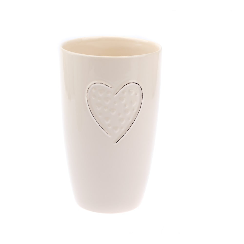 Krémová keramická váza Dakls Heart, výška 21,5 cm