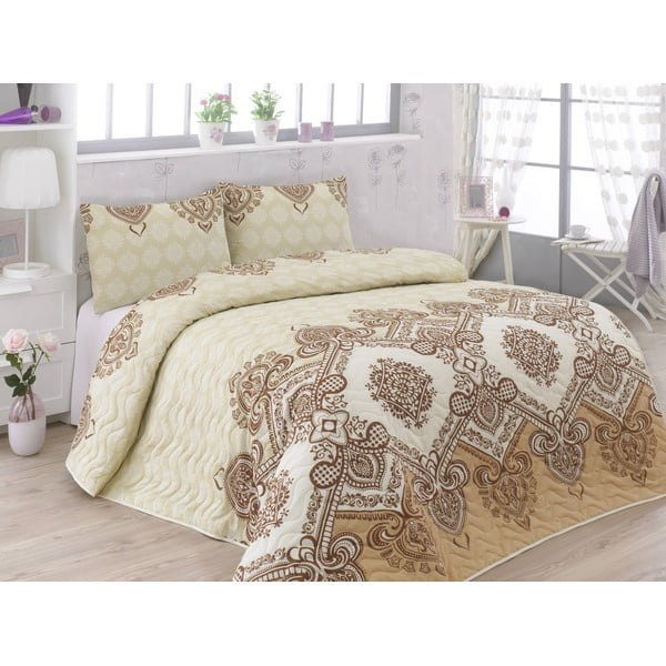 Sada prešívanej prikrývky cez posteľ a dvoch obliečok na vankúš Adriana Brown, 200x220 cm