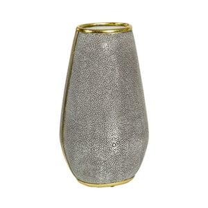 Sivá váza s detailmi v zlatej farbe Santiago Pons Pearl, výška 37 cm