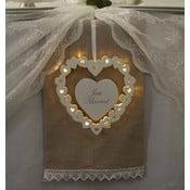 Svadobná dekorácia s LED svetielkami Wooden Heart