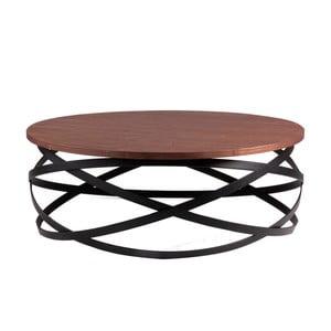 Čierny odkladací stolík sdoskou vdekore orechového dreva sømcasa Dario