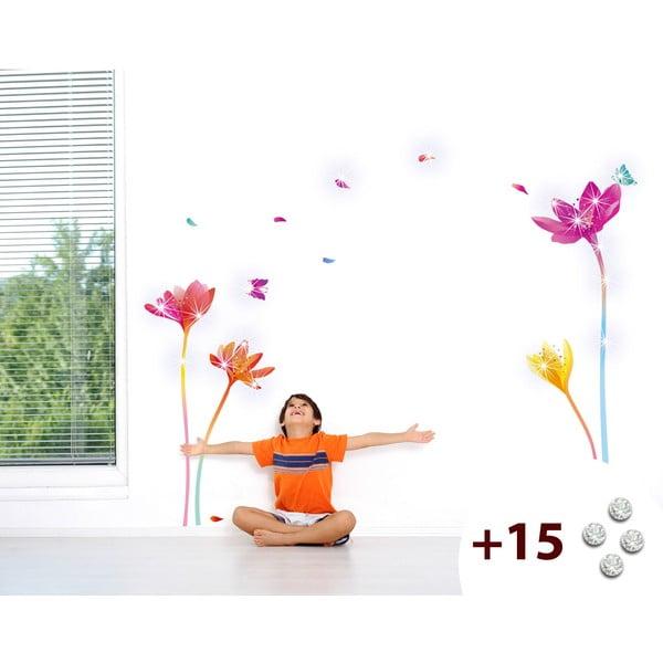 Set samolepky a 15 Swarovski krištáľov Ambience Rainbow Flowers