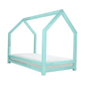 Tyrkysová jednolôžková posteľ z borovicového dreva Benlemi Funny, 80 × 160 cm