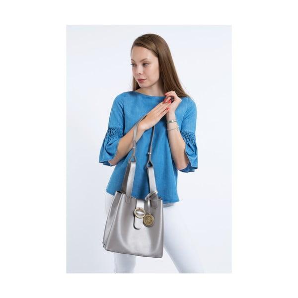Kožená kabelka v striebornej farbe Beverly Hills Polo Club Gina