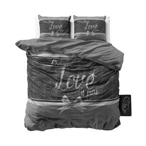 Sivé bavlnené obliečky Sleeptime Pure Love, 200×200 cm