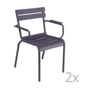 Sada 2 lila stoličiek s opierkami na ruky Fermob Luxembourg