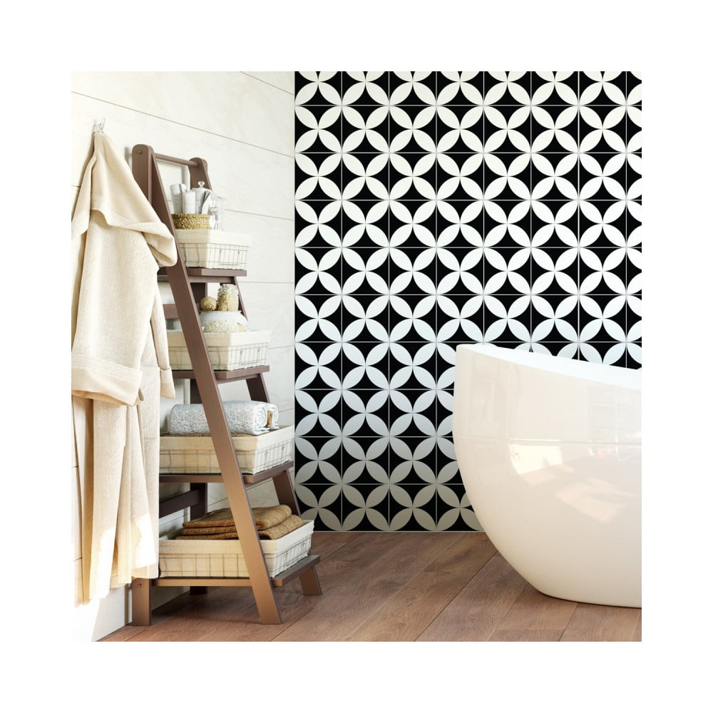Sada 60 nástenných samolepiek Ambiance Wall Decal Cement Tiles Aniello, 20 × 20 cm