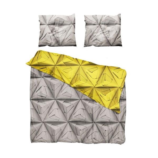 Žlto-hnedé obliečky Snurk Monogami Yellow, 200 x 200 cm