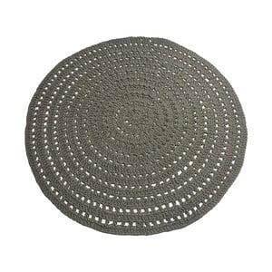 Tmavo-zelený kruhový bavlnený koberec LABEL51 Knitted, ⌀ 150 cm