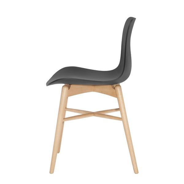 Čierna jedálenská stolička z masívneho bukového dreva NORR11 Langue Natural