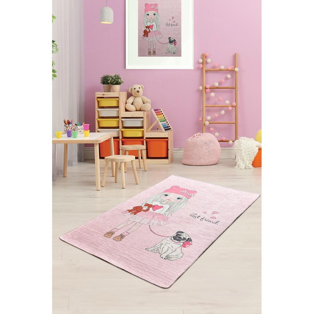 Ružový detský protišmykový koberec Chilam Best Friend, 100 x 160 cm