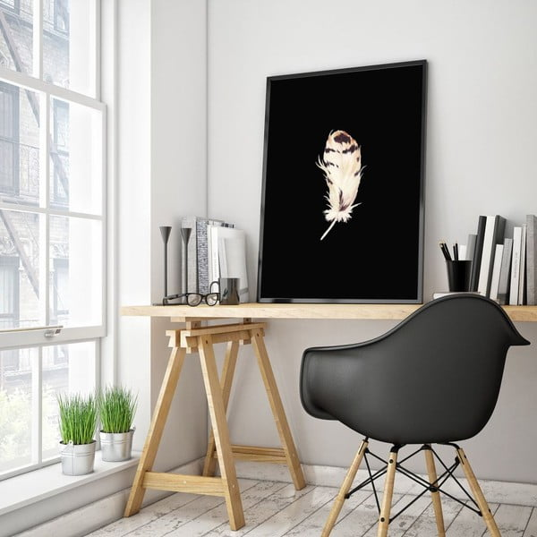 Plagát v drevenom ráme Plume, 38x28 cm