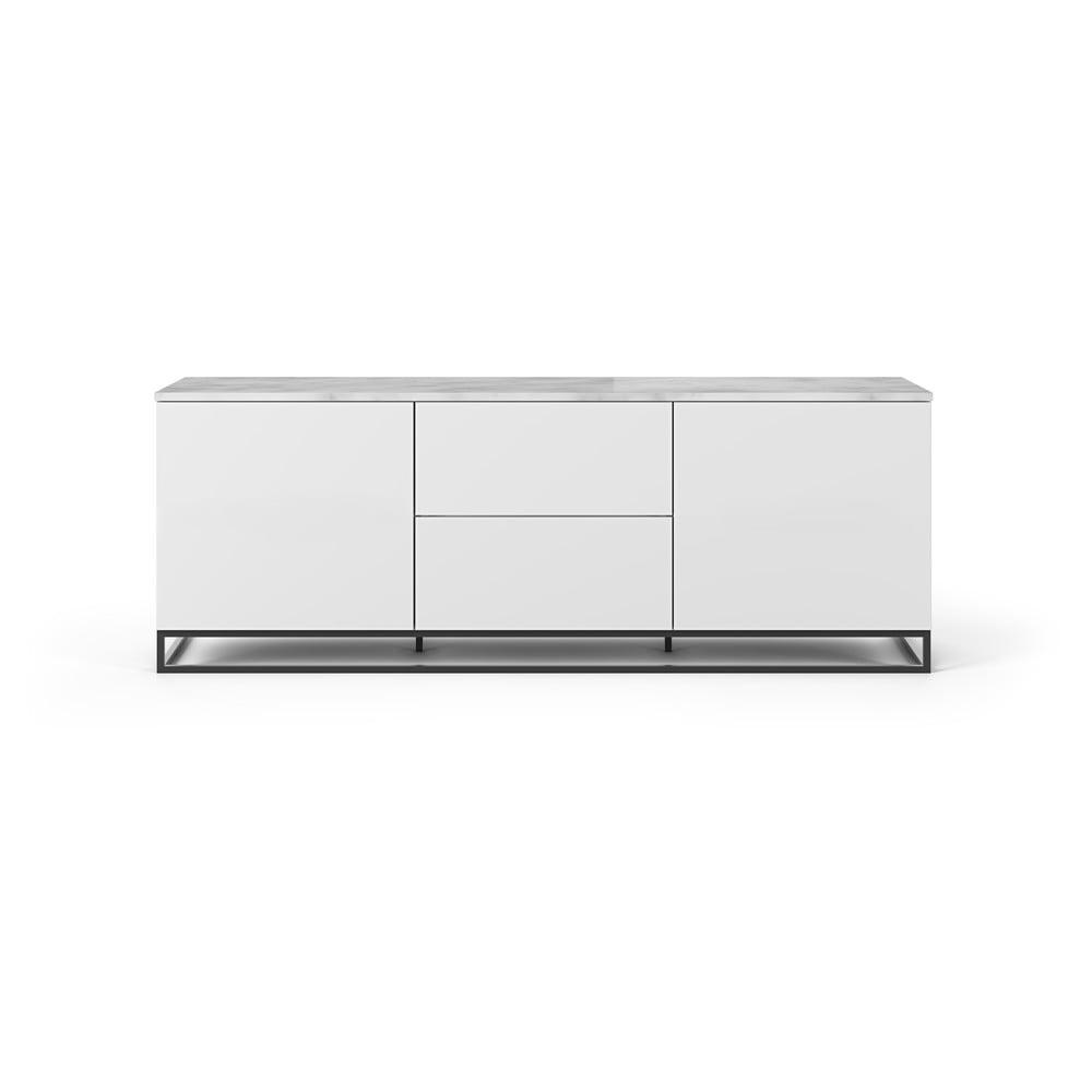 Biely televízny stolík so svetlou doskou a čiernymi nohami TemaHome Join, 180 × 65 cm
