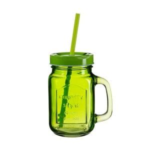 Zelený pohár s viečkom a slamkou SUMMER FUN II BUNT, 450ml