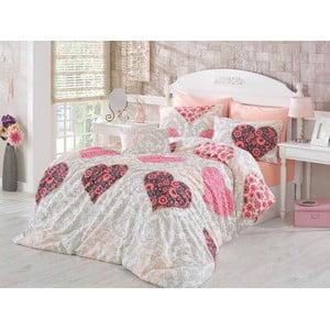 Ružové obliečky a plachta na dvojlôžko Love Salmon, 200×220cm