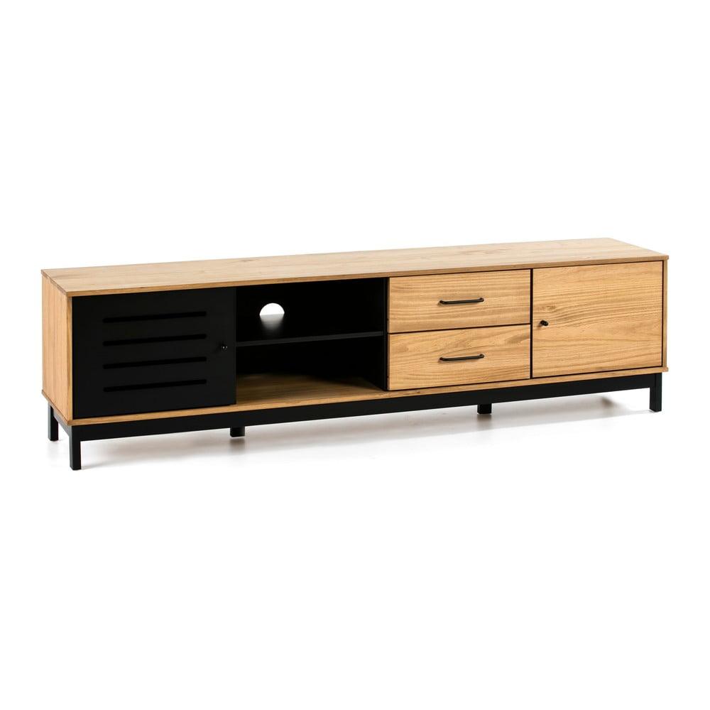 TV stolík s drevenou konštrukciou a čiernymi detailmi Marckeric Alessia