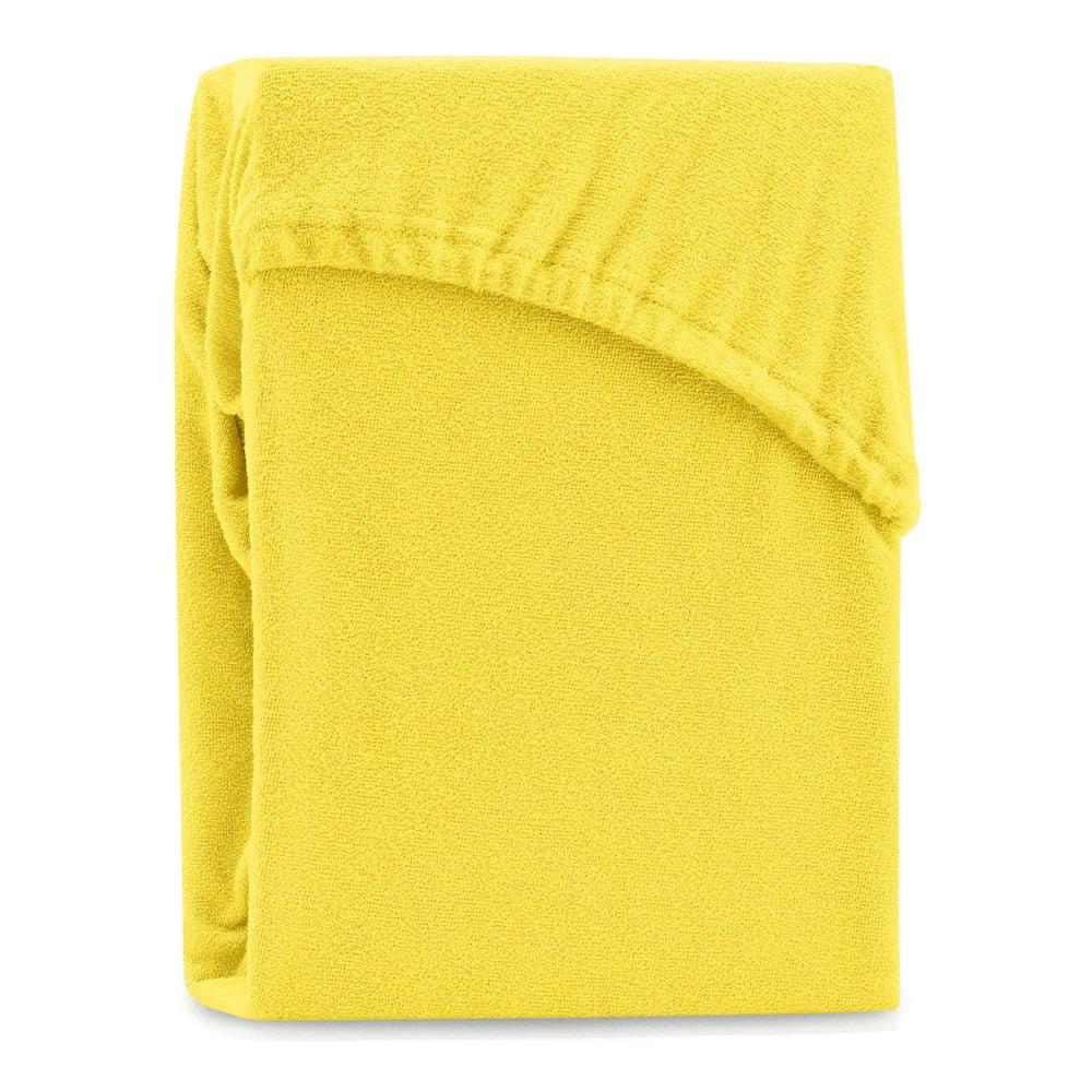 Žltá elastická plachta na dvojlôžko AmeliaHome Ruby Yellow, 180-200 x 200 cm