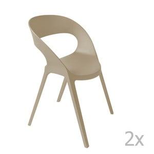Sada 2 béžových záhradných stoličiek Resol Carla