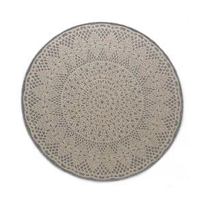 Sivý okrúhly koberec Art For Kids Crochet, ⌀ 135 cm