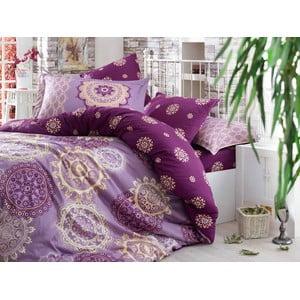 Obliečky z bavlneného saténu s plachtou na dvojlôžko Ottoman Purple, 200×220cm