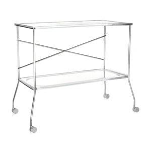 Transparentný odkladací stolík na kolieskach Kartell Flip