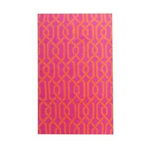 Ružový vlnený koberec Kilim Modern, 150x240 cm