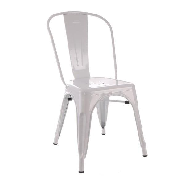 Biela kovová stolička Ixia Dallas Industrial