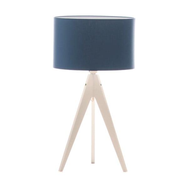 Modrá stolová lampa Artist, biela breza lakovaná, Ø 33 cm